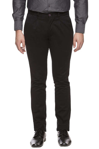 Cottonworld Men's Pants MEN'S 97% COTTON 3% LYCRA BLACK CUSTOM-FIT PANT