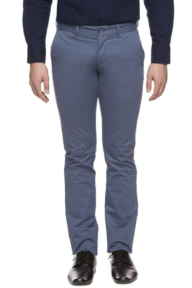 Men's Cotton Lycra Blue Slim Fit Pant Cottonworld Men's Pants