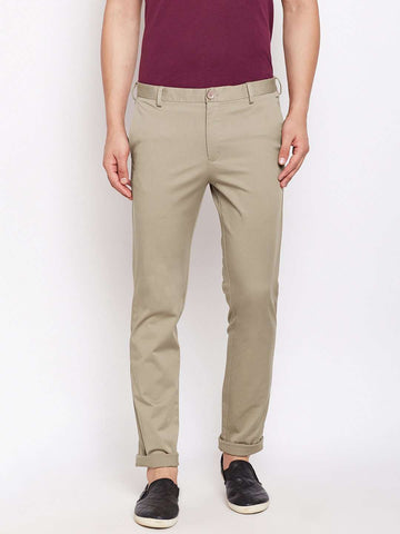 Cottonworld Men's Pants MEN'S 97% COTTON 3% LYCRA DK KHAKI SLIM FIT PANTS
