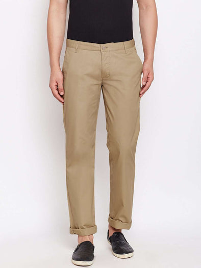 Men's Cotton Lycra Khaki Classic Fit Pants Cottonworld Men's Pants