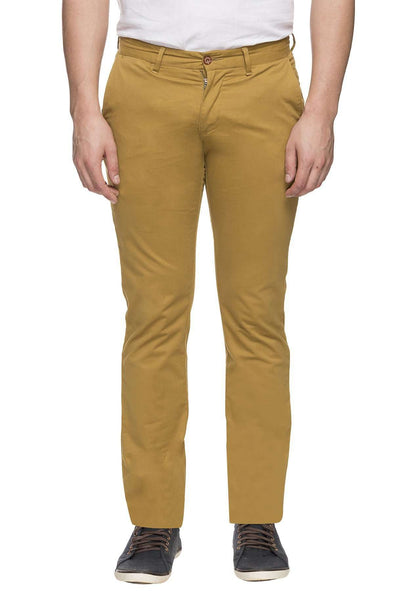Cottonworld Men's Pants MEN'S 97% COTTON 3% LYCRA MUSTARD SLIM FIT PANT