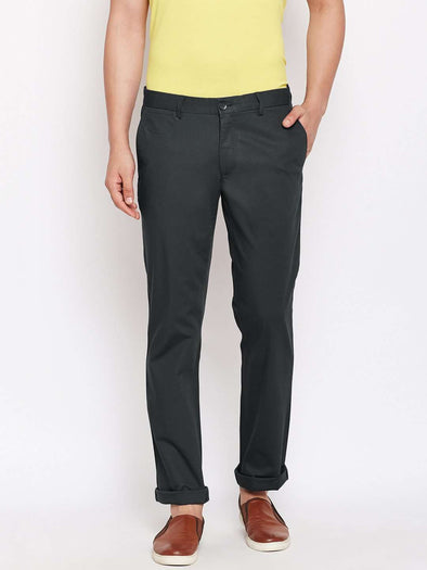 Men's Cotton Lycra Navy Classic Fit Pants Cottonworld Men's Pants
