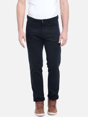 Cottonworld Men's Pants MEN'S 97% COTTON 3% LYCRA NAVY SLIM FIT PANTS
