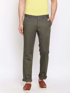 Men's Cotton Lycra Olive Classic Fit Pants Cottonworld Men's Pants