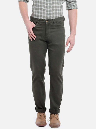 Cottonworld Men's Pants MEN'S 97% COTTON 3% LYCRA OLIVE SLIM FIT PANTS