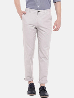 Cottonworld Men's Pants Men's Cotton Lycra Beige Slim Fit Pants
