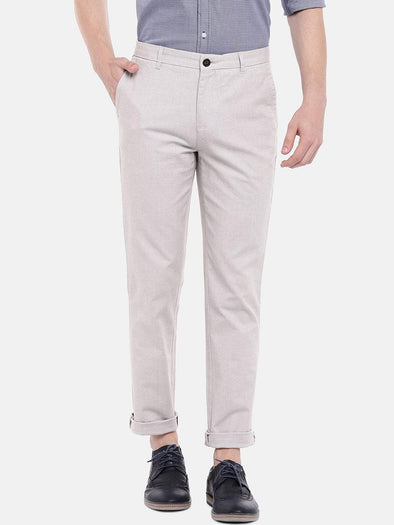 Men's Cotton Lycra Beige Slim Fit Pants Cottonworld Men's Pants