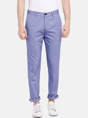 Cottonworld Men's Pants Men's Cotton Lycra Blue Slim Fit Pants