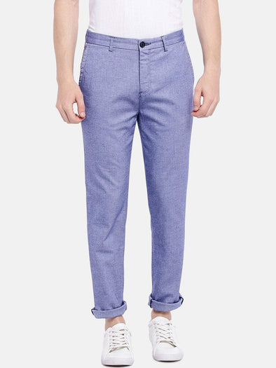 Men's Cotton Lycra Blue Slim Fit Pants Cottonworld Men's Pants