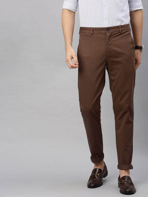 Men's Cotton  Lycra Brown Slim Fit Pants Cottonworld Men's Pants