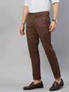 Cottonworld Men's Pants Men's Cotton  Lycra Brown Slim Fit Pants