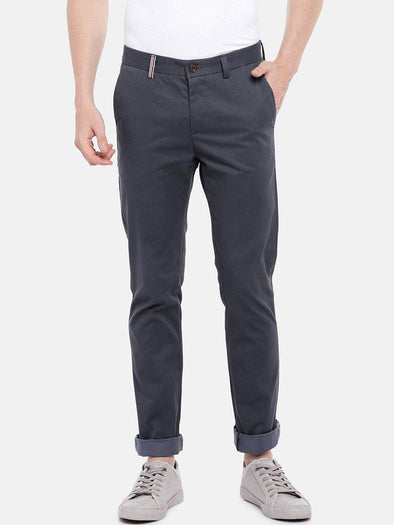 Cottonworld Men's Pants Men's Cotton Lycra Grey Slim Fit Pants