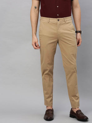 Cottonworld Men's Pants Men's Cotton  Lycra Khaki Slim Fit Pants