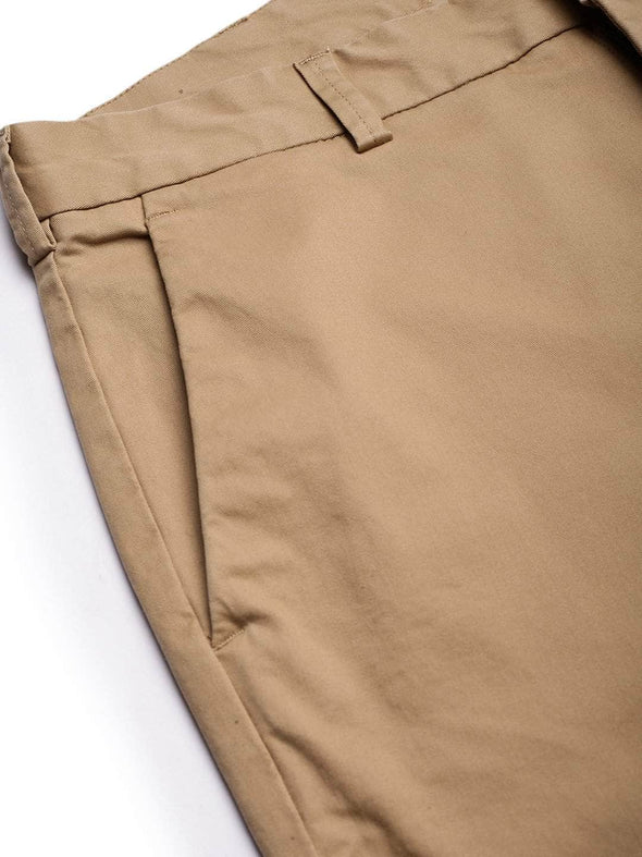 Men's Cotton  Lycra Khaki Slim Fit Pants Cottonworld Men's Pants
