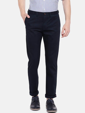 Cottonworld Men's Pants Men's Cotton Lycra Navy Slim Fit Pants