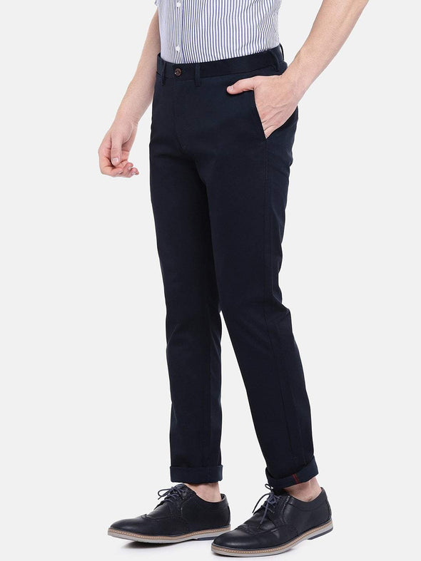 Men's Cotton Lycra Navy Slim Fit Pants Cottonworld Men's Pants