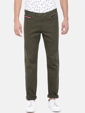 Cottonworld Men's Pants Men's Cotton Lycra Olive Regular Fit Pants