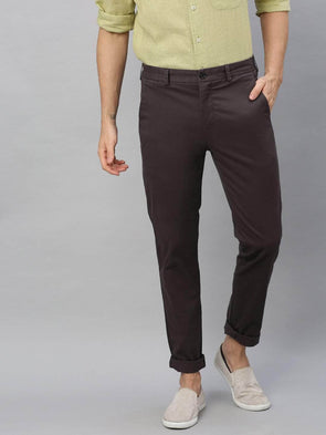 Men's Cotton  Lycra Slate Slim Fit Pants Cottonworld Men's Pants