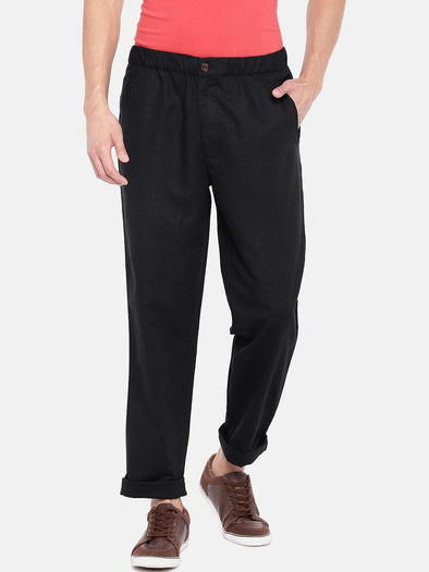 Men's Linen Cotton Black Regular Fit Pants Cottonworld Men's Pants