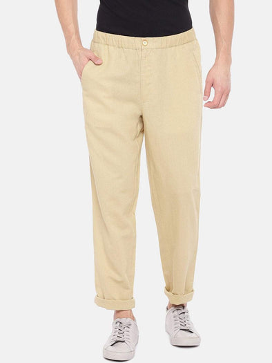 Men's Linen Cotton Khaki Regular Fit Pants Cottonworld Men's Pants
