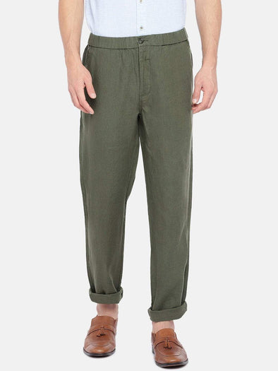 Men's Linen Olive Regular Fit Pants Cottonworld Men's Pants
