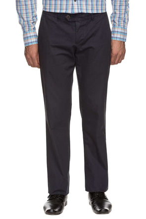 Mens Cotton Navy Solid Pants Cottonworld Men's Pants