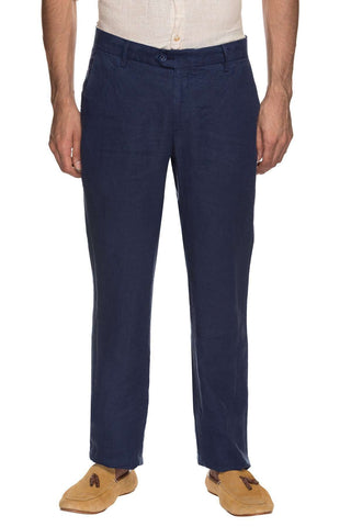 Cottonworld Men's Pants MENS 100% LINEN  NAVY SOLID PANTS