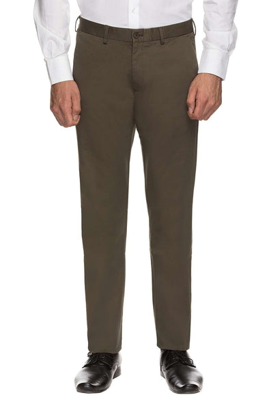 Cottonworld Men's Pants MENS 97% COTTON 3% LYCRA OLIVE SOLID PANTS