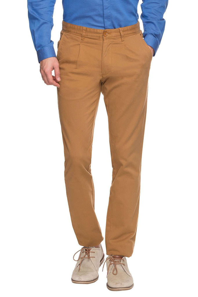 Cottonworld Men's Pants MENS SOLID MUSTARD COTTON PANTS