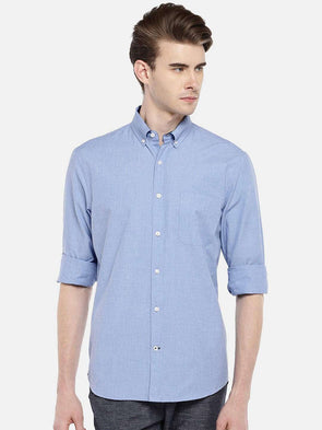 Cottonworld Men's Shirts 38 CM-SMALL / BLUE MEN'S 100% COTTON BLUE REGULAR FIT SHIRTS