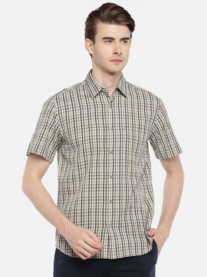 Cottonworld Men's Shirts 38 CM-SMALL / BROWN MEN'S 100% COTTON BROWN REGULAR FIT SHIRTS