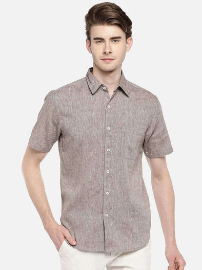 Cottonworld Men's Shirts 38 CM-SMALL / BROWN MEN'S 60% LINEN 40% COTTON BROWN REGULAR FIT SHIRTS