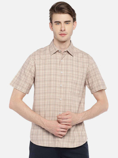 Cottonworld Men's Shirts 38 CM-SMALL / CREAM MEN'S 100% COTTON CREAM REGULAR FIT SHIRTS