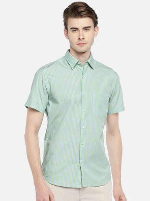 Cottonworld Men's Shirts 38 CM-SMALL / GREEN MEN'S 100% COTTON GREEN REGULAR FIT SHIRTS