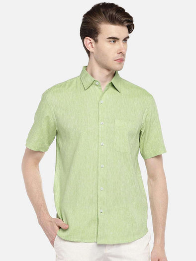 Cottonworld Men's Shirts 38 CM-SMALL / GREEN MEN'S 60% LINEN 40% COTTON GREEN REGULAR FIT SHIRTS