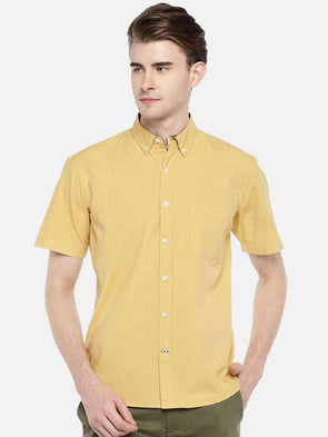 Cottonworld Men's Shirts 38 CM-SMALL / MUSTARD MEN'S 100% COTTON MUSTARD REGULAR FIT SHIRTS