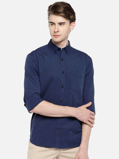 Cottonworld Men's Shirts 38 CM-SMALL / NAVY MEN'S 100% COTTON NAVY REGULAR FIT SHIRTS