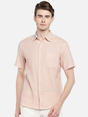 Cottonworld Men's Shirts 38 CM-SMALL / PEACH MEN'S 60% LINEN 40% COTTON PEACH REGULAR FIT SHIRTS