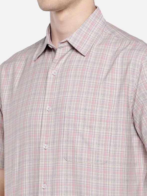 Cottonworld Men's Shirts 38 CM-SMALL / PINK MEN'S 100% COTTON PINK REGULAR FIT SHIRTS