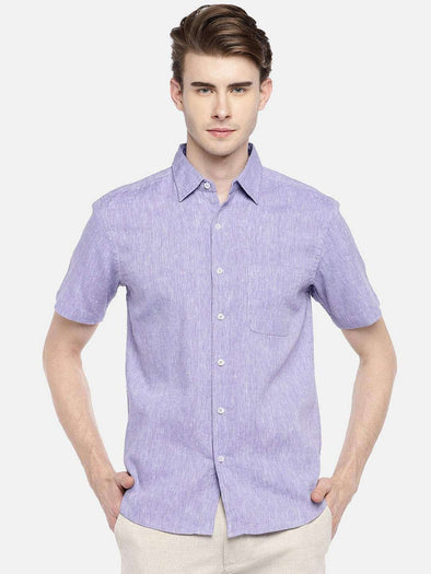 Cottonworld Men's Shirts 38 CM-SMALL / PURPLE MEN'S 60% LINEN 40% COTTON PURPLE REGULAR FIT SHIRTS