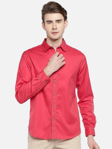 Cottonworld Men's Shirts 38 CM-SMALL / RED MEN'S 100% COTTON RED SLIM FIT SHIRTS