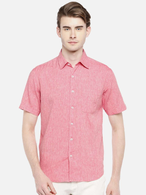 Cottonworld Men's Shirts 38 CM-SMALL / RED MEN'S 60% LINEN 40% COTTON RED REGULAR FIT SHIRTS