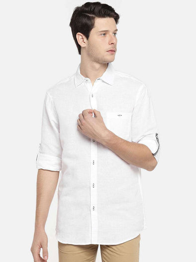 Cottonworld Men's Shirts - EX MEN'S SOLID LINEN COTTON FULL SLEEVE ROLL UP SHIRT WITH CONTRAST TAPE