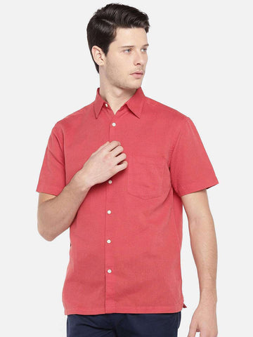 Cottonworld Men's Shirts - EX MEN'S SOLID LINEN COTTON HALF SLEEVE SHIRT