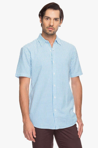 Cottonworld Men's Shirts Men Aqua Slim Stripes Woven Shirts