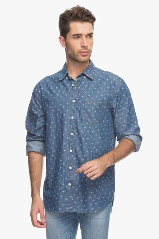 Cottonworld Men's Shirts Men Dark Blue Jacquard Shirt