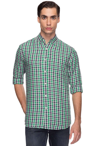 Cottonworld Men's Shirts Men Green Tailored Cotton Shirts