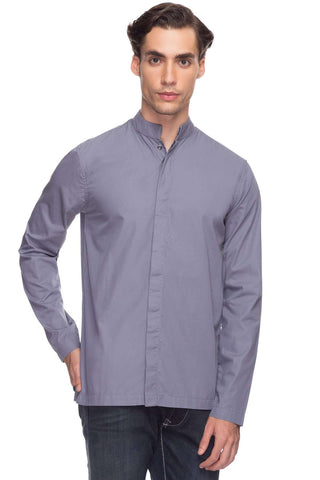 Cottonworld Men's Shirts Men Grey Tailored Solid Woven Shirts