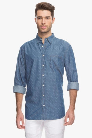 Cottonworld Men's Shirts Men Indigo Jacquard Shirt