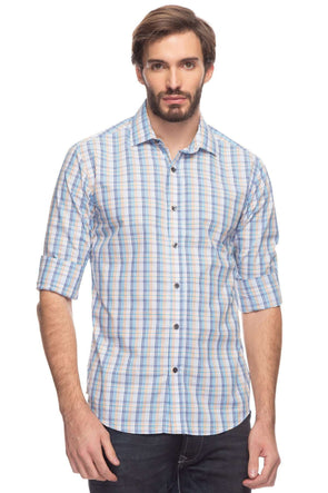 Cottonworld Men's Shirts Men Long Sleeve Slim Fit Checked Dobby Shirt